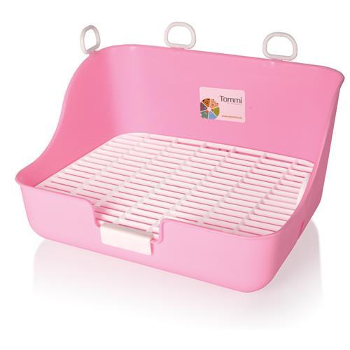 Záchod pro králíky s roštem - WC, mix barev Růžové provedení záchodu s roštem.