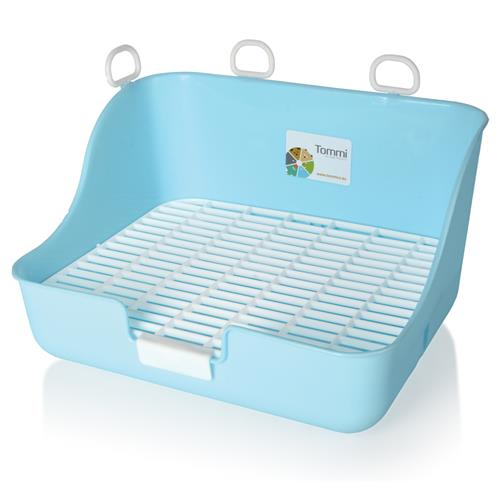 Záchod pro králíky s roštem - WC, mix barev Modré provedení záchodu s roštem.